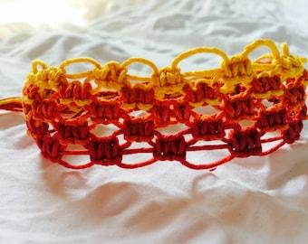 Cuff Bracelet, Yellow, Orange, Red, Adjustable