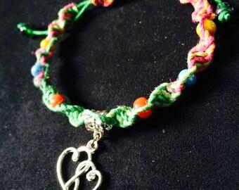 Heart Macrame Bracelet, multicoloured
