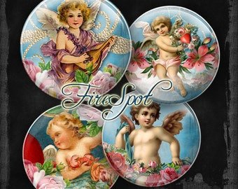 Vintage Angell Cupid flower rose - Digital Collage Sheet 20mm, 18mm, 16mm, 14mm, 12mm circles Glass Pendants Bottlecaps Scrapbooking