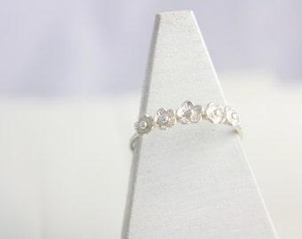 Sakura ring, silver flower ring, silver jewelry, flower jewelry, japanese jewelry, silver ring, sterling silver ring, bridesmaid gift, women