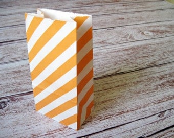 Party Favor Bags-10 Orange Striped SMALL Lunch Sack-Striped Party Favor Bags-Wedding Gift Bag-Birthday Treat Bag-Orange Goodie Bag
