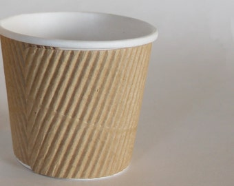 4oz Natural Kraft Ripple Hot or Cold Cup Set of 10