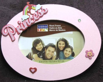 Pink Princess Picture Frame with Graphics