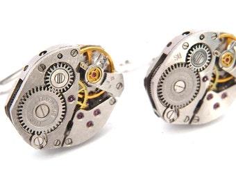 Steampunk Watch Cufflinks. Vintage Watch Movement Cuff Links. Fathers Day / Wedding / Best Man
