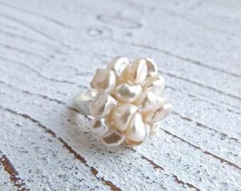 Keshi pearls Ring #89,Ladies Ring,Ring freshwater Pearls,Wedding, creme Ring,Handmade Jewelry, Women,High Fashion,Gift for her, Keshi Pearl
