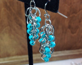 Chainmaille Earrings, Chainmaille and Beaded Earrings, Turquoise Beaded Earrings