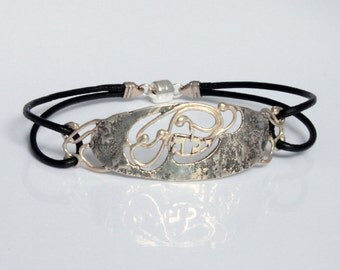 "Handmade Silver & Leather Bracelet ""ילה - Sweetening Judgment"""