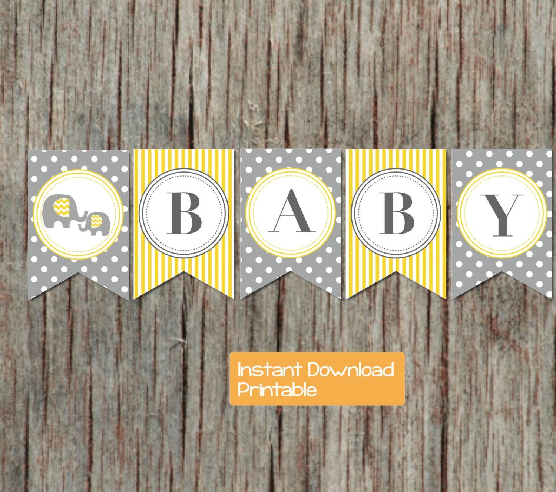 yellow grey elephant printable baby shower by bumpandbeyonddesigns