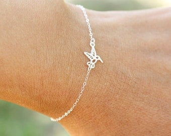 Tiny Sterling Silver Hummingbird Bracelet or Anklet