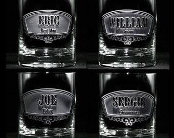 Groomsmen Gifts, Engraved Best Man, Groomsman Rocks Glasses, Set of 7