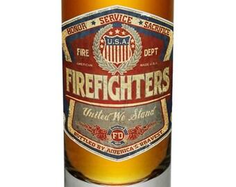SET OF 4 Vintage Firefighter United We Stand Shot Glass SKU: FF2099-S2oz-004