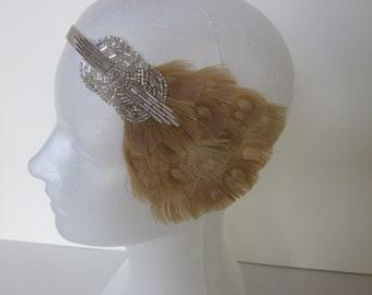 Great Gatsby Dress Headband, 1920s Dress Flapper Headbands Great Gatsby Bridal Hair Accessories, Silver Beaded Feather Fascinator