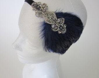1920 silver headband, great gatsby headpiece, flapper headpiece black feather beige feather Art Deco beaded dress stretch elastic flapper