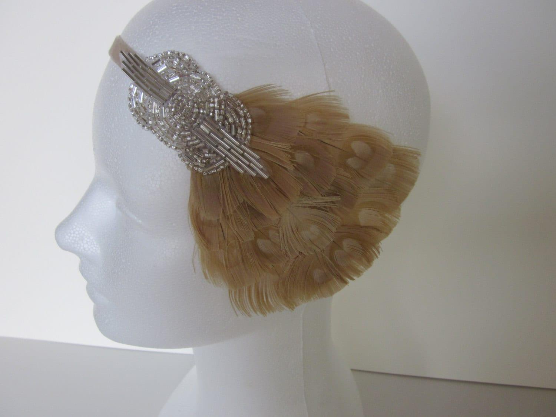 roaring 20s headband feather headband annees 20 1920s. Black Bedroom Furniture Sets. Home Design Ideas