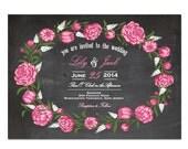 Chalkboard Peony Wedding Invitation DIY PRINTABLE Digital File or Print (extra) Chalkboard Wedding Invitation Printable Peonies Wedding