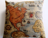 Map of The World Throw Pillow Cover -20 x 20- Handmade - Designer Fabric- Home Decor-Spring Trends -Spring Finds- March - 2014- - JeSuisJacki