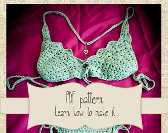 Brazilian bikini crochet pattern - Crochet Bikini - Crochet Bathsuit - Crochet Lace Swimwear