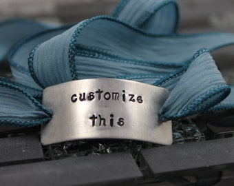 Your Personalized Custom Hand Stamped Message / Custom Bracelet / Silk Wrap Bracelet / Wedding Bracelet /  Mother's Day Gift