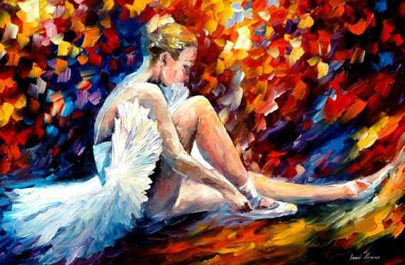"Ballet Painting - Young Ballerina — Oil Painting On Canvas By Leonid Afremov. Dancer Portrait, Dance Painting, Figure Artwork Size 36"" X 24"""