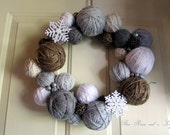 Winter Yarnball Wreath, Handmade Wreath, Christmas Wreath, Hanukkah Wreath - ThreeRosesAndALily