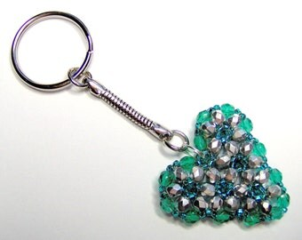 Silver and teal heart keyring, heart keychain, beaded keyring, valentine gift, silver heart, silver keyring, teal keyring, teal crystal