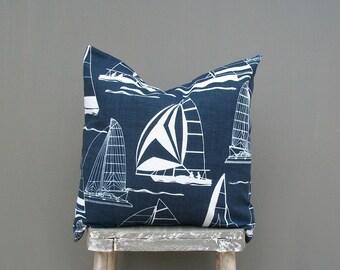Sailboat Pillow Cover, Nautical Pillow Cover, Ivory and Navy Pillow Cover, Boat Pillow, Outdoor Pillow Cover, Blue Pillow Cover, Ocean