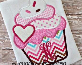 Valentine Cupcake Applique