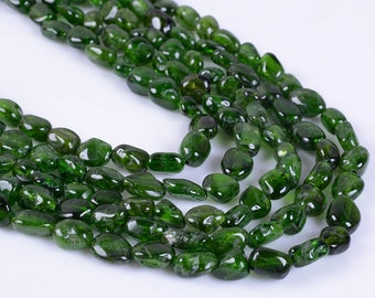 0492 Natural green diopside Pebble Chips loose gemstone beads 16""
