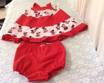 "12-18 ""month Minnie Mouse ruffle dress with bloomers free shipping"
