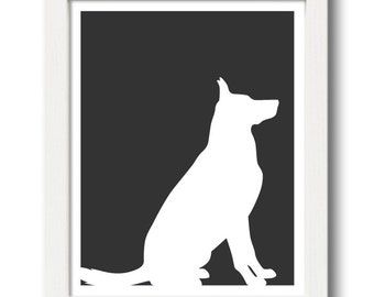 German Shepherd Print (version 2) - German Shepherd Silhouette - dog art, dog gift