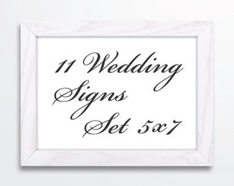Calligraphy Wedding Signs Set -  5x7 Signs - Printable PDF INSTANT DOWNLOAD