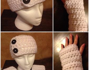 Button Headband with Fingerless Gloves