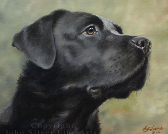 SPECIAL OFFER! Custom Pet Portrait Head & Shoulders Dog Oil Painting by award winning UK artist John Silver. 12 x 10 inches