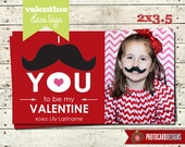 Valentine Tag | Mustache Valentine Photo Class Tag | Print file PDF | 2x3.5 | Digital | School | Tag | Class | Mustache | Valentines Card