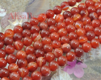Red Banded Agate,smooth round,10mm,beads,15 inches