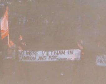 Original 1970's Vietnam War Era Anti War Protest Snapshot Photo - Free Shipping