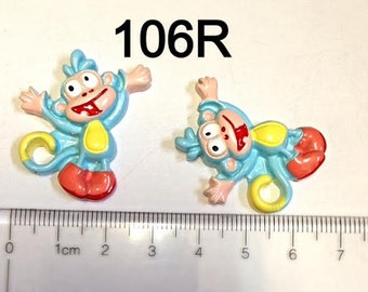 2 pc Boot The Monkey From Dora The Explorer Full Body  #106R  Resin Flat back Cabochon Hair Bow Center