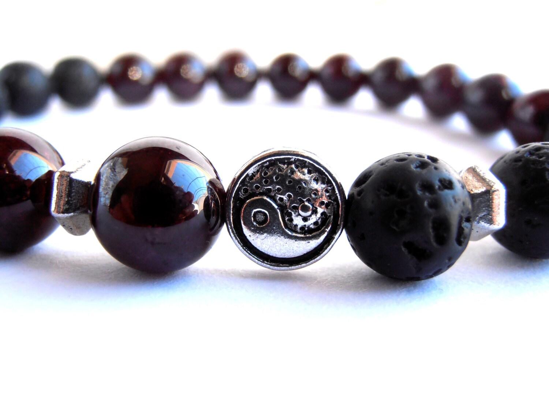 mens mala bracelet lava bracelet garnet bracelet yin