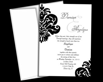 Damask wedding invitation suite , Black and white wedding invitations, handmade custom invites
