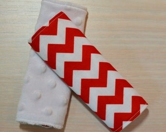 Car Seat Strap Covers - Red Chevron