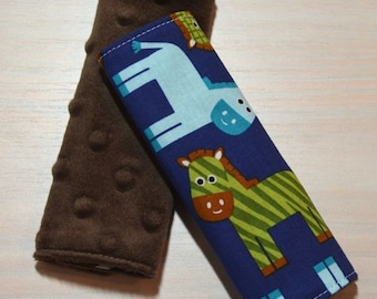 Car Seat Strap Covers - Blue, Green, Brown Horse