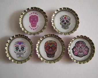 Sugar Skulls Bottlecap magnets.  Set of 5.