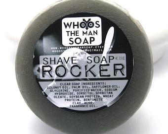 Rocker Shave Soap Handmade Men's With Bentonite Clay