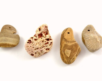 DRILLED BEACH STONES Earthy Natural Stones Beach Rocks Jewelry supplies