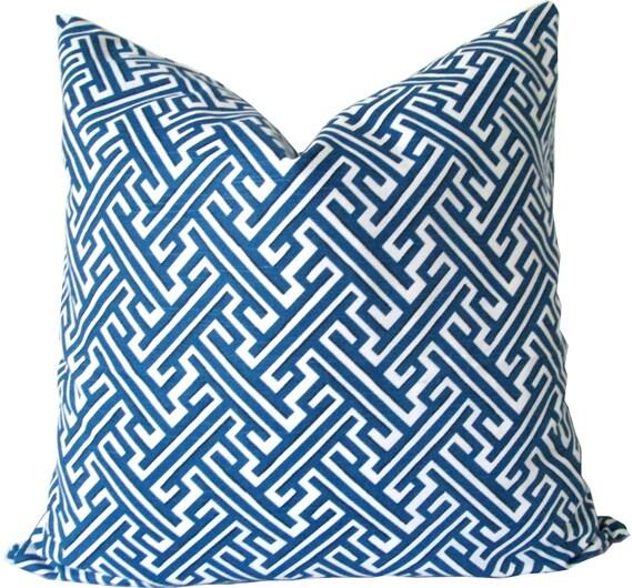 Cobalt Blue Throw Pillow Covers : Designer Pillow Cover-Cobalt Blue Trellis-Decorative by KLineDeco