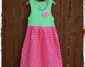 Easter dress**Dress on sale**Girls spring summer dress**Pink and green dress with flowers**Girls tank top dress**Size 4, 5**Ready to ship