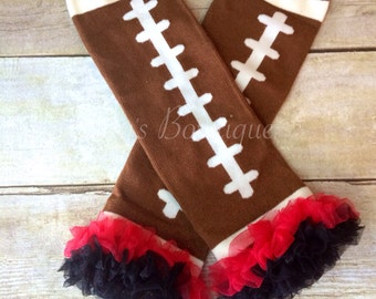 Football Leg Warmers Baby with Red and Black Ruffle