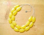 Lemon Yellow statement necklace,Yellow lemon bib necklace