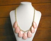 Peach Coral Bib Statement necklace, Chunky Coral peach bib necklace