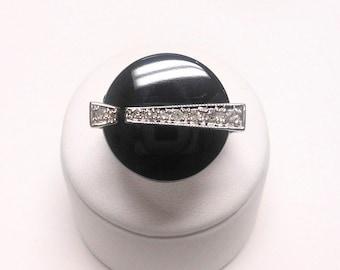 Vintage Art Deco 14K White Gold Onyx and Diamond Ring, Size 7 1/2